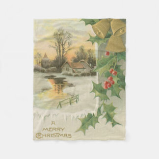 Vintage Christmas Morning Winter Scenery Fleece Blanket