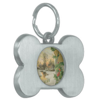 Vintage Christmas Morning Winter Scenery Pet Tag