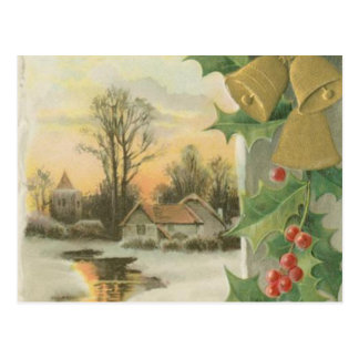 Vintage Christmas Morning Winter Scenery Postcard