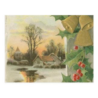 Vintage Christmas Morning Winter Scenery Postcard