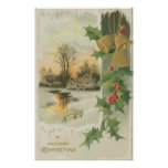 Vintage Christmas Morning Winter Scenery Poster