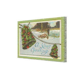 Vintage Christmas Morning with Holly Bells Canvas Print