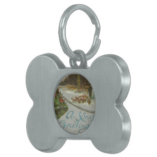 Vintage Christmas Morning with Holly Bells Pet Name Tag