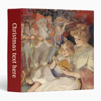 Vintage Christmas, Mother Reading Bedtime Story 3 Ring Binder