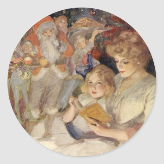 Vintage Christmas, Mother Reading Bedtime Story Classic Round Sticker