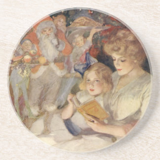 Vintage Christmas, Mother Reading Bedtime Story Coaster