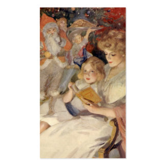 Vintage Christmas, Mother Reading Bedtime Story Double-Sided Standard Business Cards (Pack Of 100)