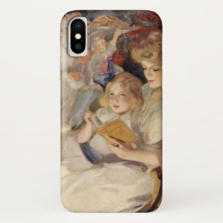 Vintage Christmas, Mother Reading Bedtime Story iPhone X Case