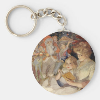 Vintage Christmas, Mother Reading Bedtime Story Basic Round Button Keychain