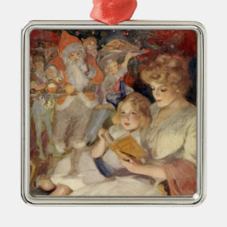 Vintage Christmas, Mother Reading Bedtime Story Metal Ornament