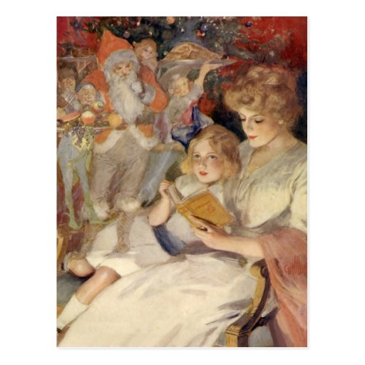 Vintage Christmas Mother Reading Bedtime Story Postcard