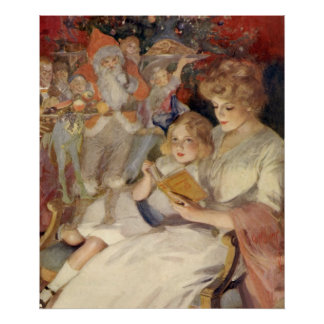 Vintage Christmas, Mother Reading Bedtime Story Poster