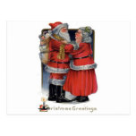 Vintage Christmas - Mr and Mrs Claus Postcard