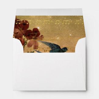 Vintage Christmas Music Notes Bird Floral Gold Envelope
