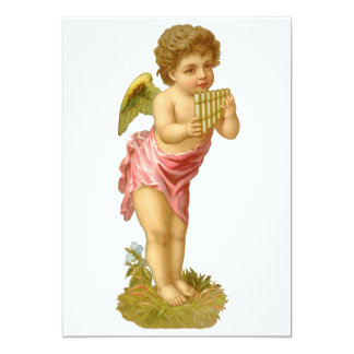 Vintage Christmas, Musician Angel with Pan Pipes Card