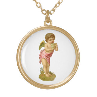 Vintage Christmas, Musician Angel with Pan Pipes Gold Plated Necklace