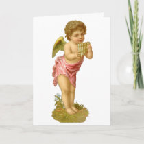 Vintage Christmas, Musician Angel with Pan Pipes Holiday Card