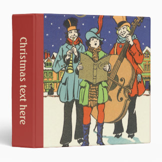 Vintage Christmas, Musicians Caroling with Music 3 Ring Binder