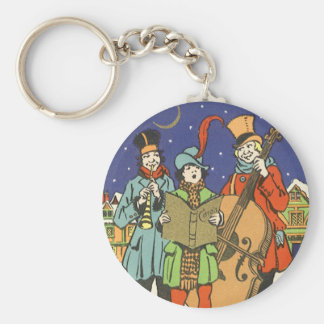 Vintage Christmas, Musicians Caroling with Music Basic Round Button Keychain