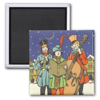 Vintage Christmas, Musicians Caroling with Music Magnet