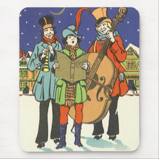 Vintage Christmas, Musicians Caroling with Music Mouse Pad