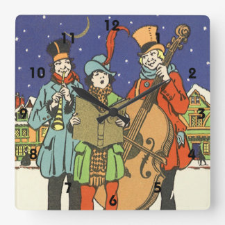 Vintage Christmas, Musicians Caroling with Music Square Wall Clock