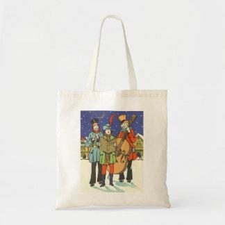 Vintage Christmas, Musicians Caroling with Music Tote Bag