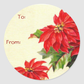Vintage Christmas Name Tags Classic Round Sticker