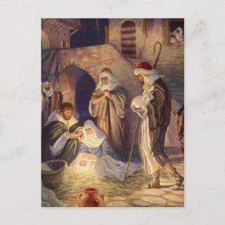 Vintage Christmas Nativity, 3 Shepherds and Jesus Holiday Postcard