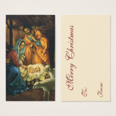 Vintage Christmas Nativity, Baby Jesus In Manger Business Card at Zazzle