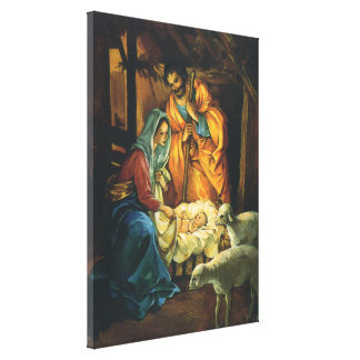 Vintage Christmas Nativity, Baby Jesus in Manger Canvas Print