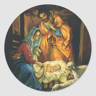 Vintage Christmas Nativity, Baby Jesus in Manger Classic Round Sticker