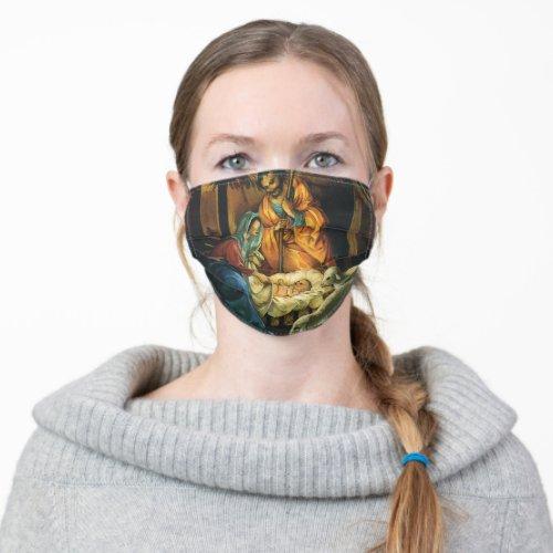 Vintage Christmas Nativity Baby Jesus in Manger Cloth Face Mask