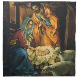 Vintage Christmas Nativity, Baby Jesus in Manger Cloth Napkin