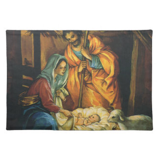 Vintage Christmas Nativity, Baby Jesus in Manger Cloth Placemat