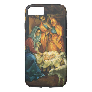 Vintage Christmas Nativity, Baby Jesus in Manger iPhone 8/7 Case