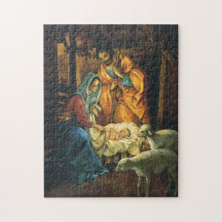 Vintage Christmas Nativity, Baby Jesus in Manger Jigsaw Puzzle
