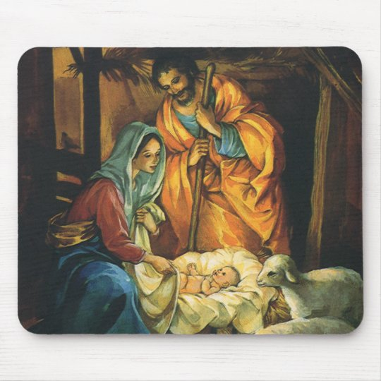 Vintage Christmas Nativity, Baby Jesus in Manger Mouse Pad