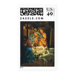 Vintage Christmas Nativity, Baby Jesus in Manger Stamps