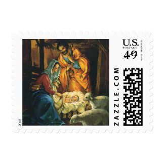 Vintage Christmas Nativity, Baby Jesus in Manger Postage