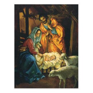 Vintage Christmas Nativity, Baby Jesus in Manger Postcard