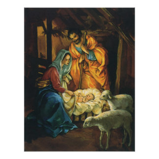 Vintage Christmas Nativity, Baby Jesus in Manger Poster