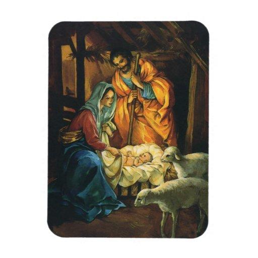 Vintage Christmas Nativity, Baby Jesus in Manger Flexible Magnets