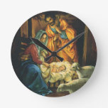 Vintage Christmas Nativity, Baby Jesus in Manger Round Clock