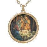 Vintage Christmas Nativity, Baby Jesus in Manger Round Pendant Necklace