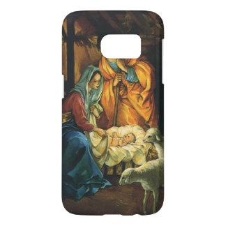Vintage Christmas Nativity, Baby Jesus in Manger Samsung Galaxy S7 Case