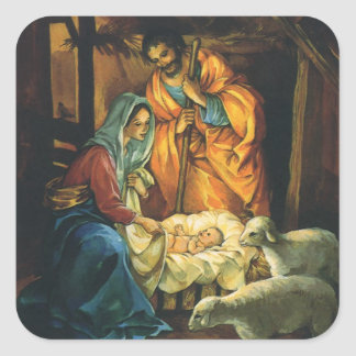 Vintage Christmas Nativity, Baby Jesus in Manger Square Sticker