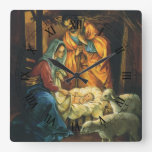 Vintage Christmas Nativity, Baby Jesus in Manger Square Wall Clock