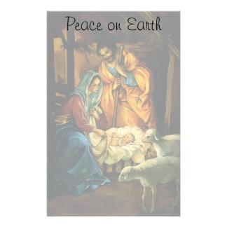 Vintage Christmas Nativity, Baby Jesus in Manger Stationery