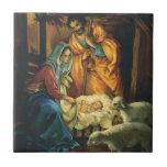 Vintage Christmas Nativity, Baby Jesus in Manger Ceramic Tile